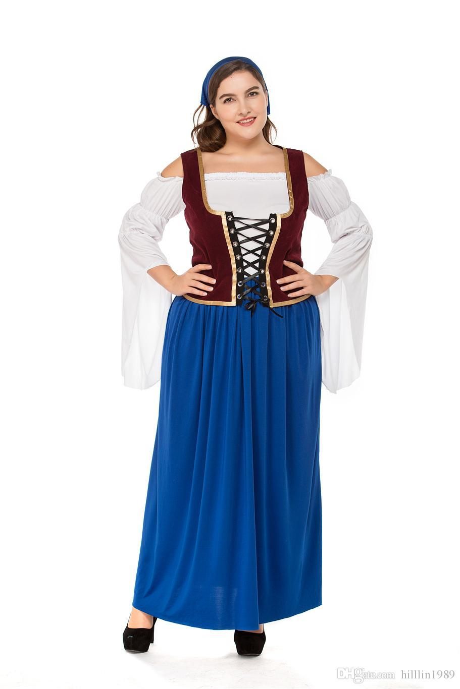 Plus Size German Women Oktoberfest Dress Mardi Gras Blue Cosplay Bavarian Waitress Costume Carnival Large Size Beer Girl Fancy Dress
