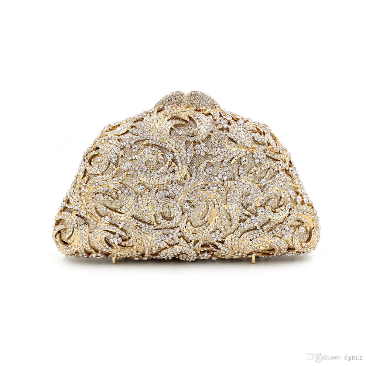 Dgrain Dazzling Gold Flower Frauen Kristall Clutch Abendtaschen aushöhlen Hochzeit Schultertasche und Geldbeutel Minaudiere Damen-Geldbeutel