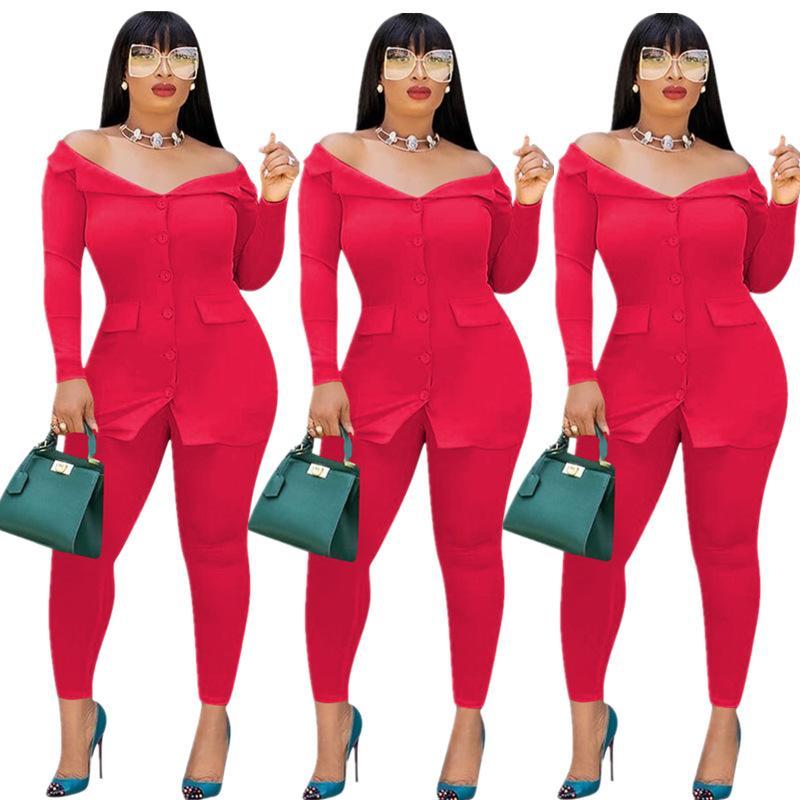 2019 Automne Femmes Full Sleeve Slash Neck manteau top et pantalon costume deux pièces ensemble mode bureau dame survêtement costume S-XXL