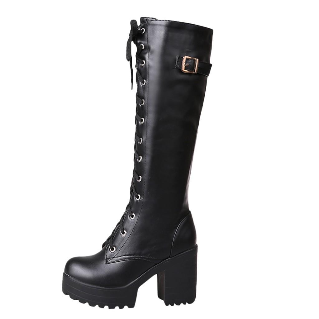 MUQGEW Горячая продажа Весна Осень шнуровка колено высокие сапоги женщин Мода Белый квадрат пятки женщины кожаные ботинки зимы Большой размер 34-43