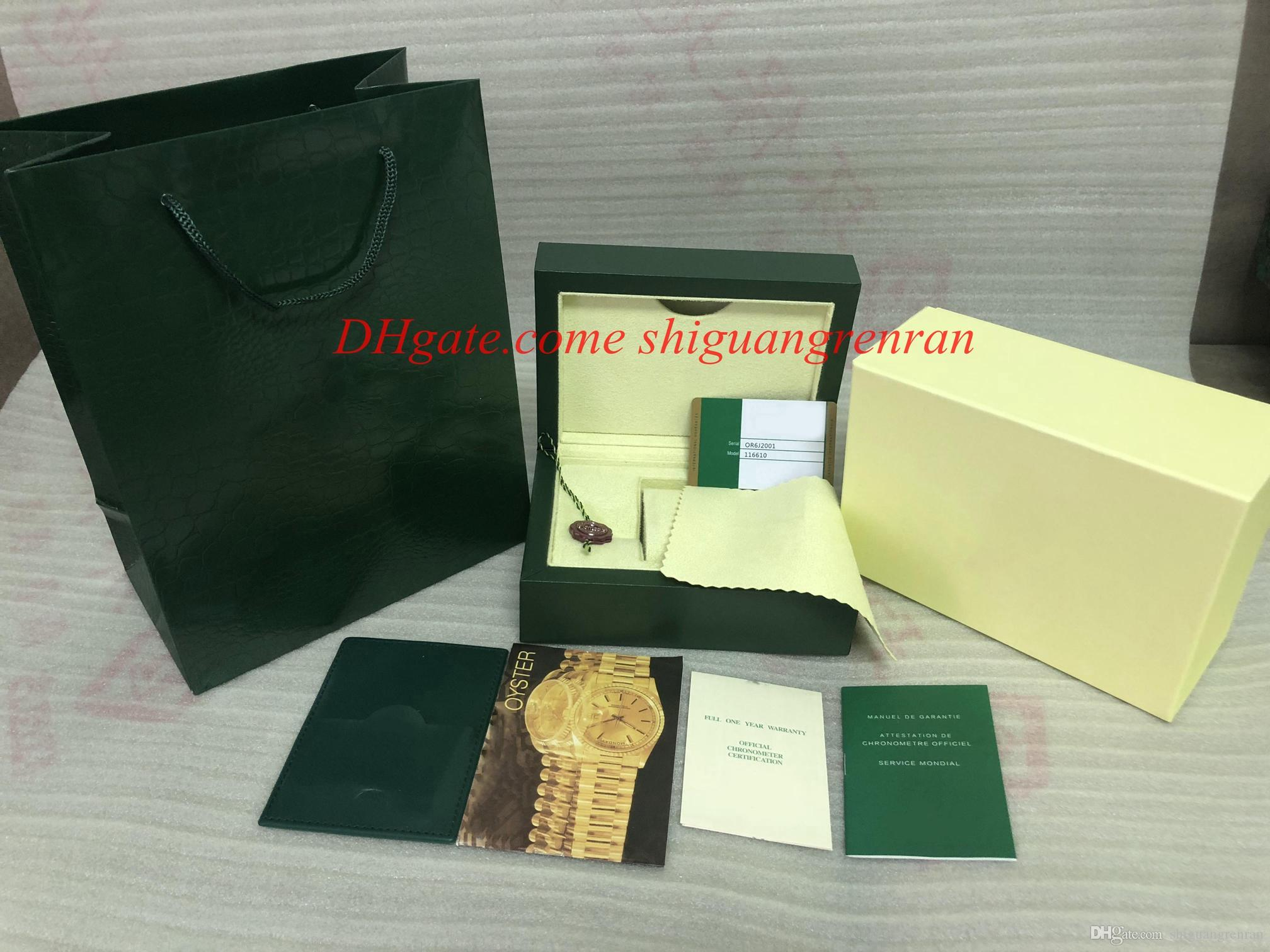 Factory Supplier Watch Box Mens Green Wooden Original Papers Card Wallet Papers Gift Bag Woman Watches Wristwatch box case For 116234 126710