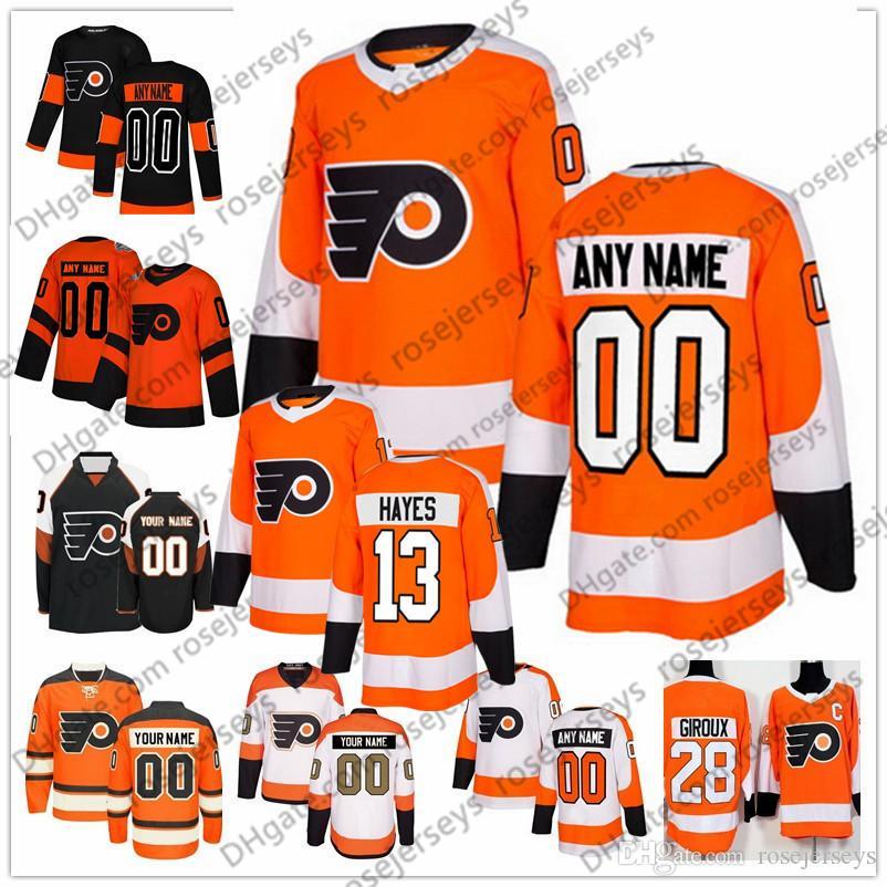 Gewohnheit Philadelphia Flyer # 13 Kevin Hayes Jersey Irgendeine Zahl Name Männer Frauen Jugendkind Weiß Schwarz Orange Hartman 00 Gritty 28 Giroux Voracek