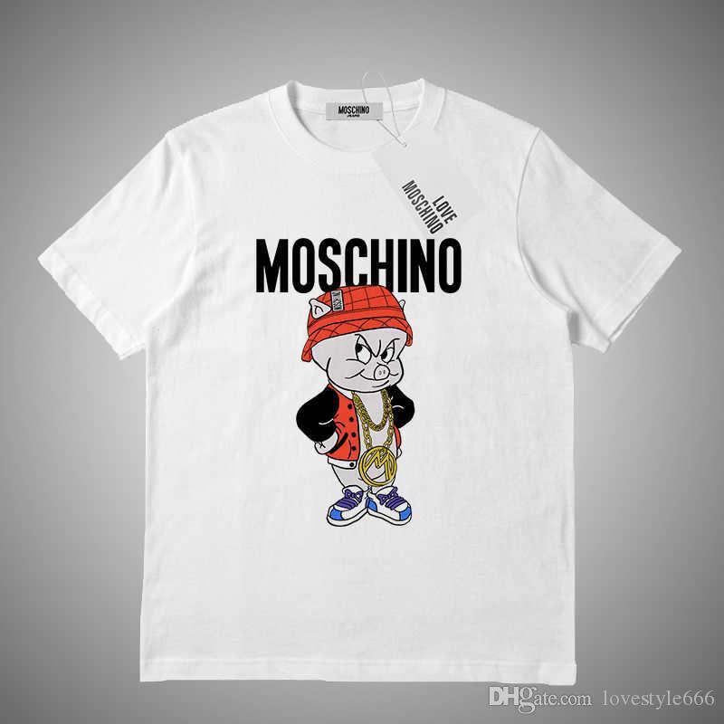 Moschino 2019 Футболка с принтом для мужчин Хлопок Футболка с коротким рукавом Женская футболка # 156482