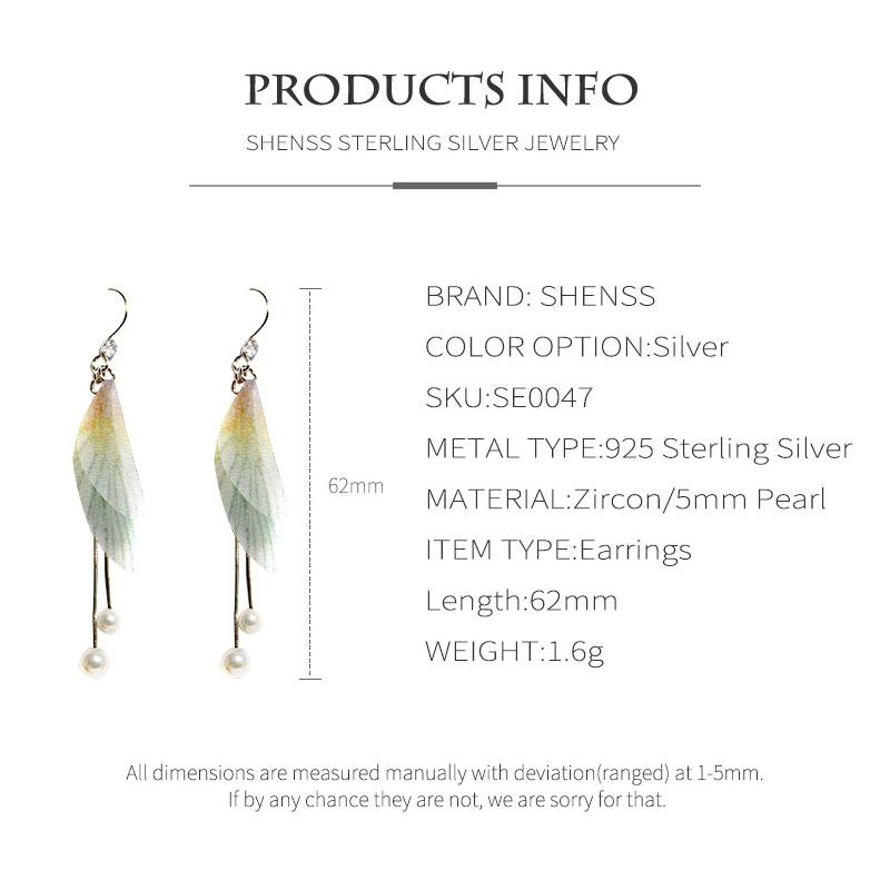 925 Sterling Silver Earrings Sweet Premium Womens Earrings Butterfly Wing Shape