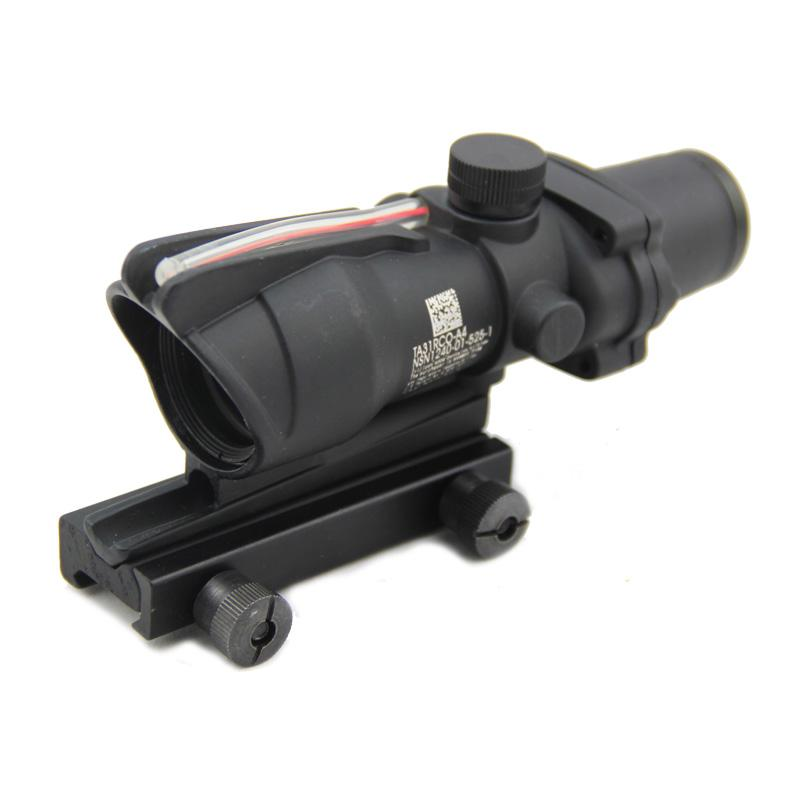 ACOG 4x32 Optical Scope with Red Fiber Crosshair reflective coating Weaver Rifle Scopes Combat Gunsight For Hunting