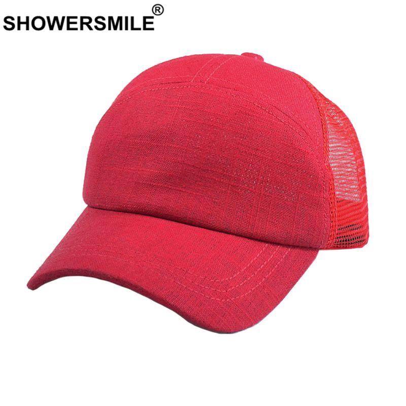 SHOWERSMILE винтажный водитель грузовика кепка мужчины хлопок белье крышка Бейсбол женщины красный сетки Повседневный летний простой ретро унисекс папа шляпа snapback