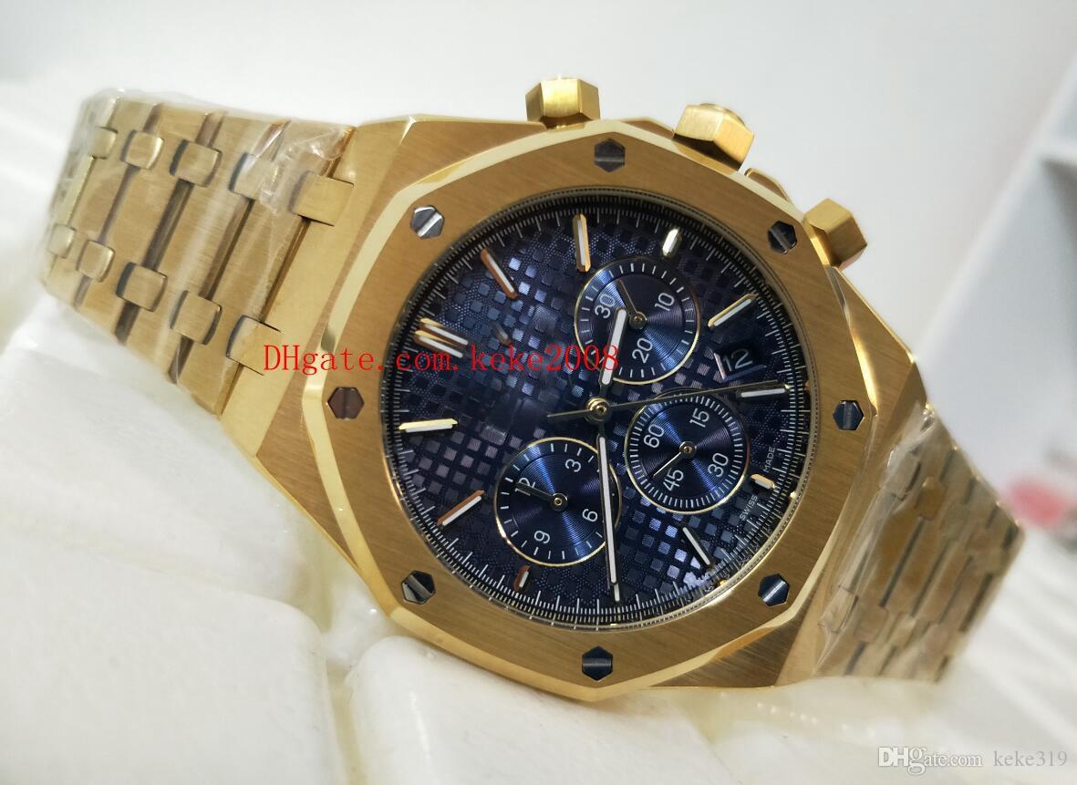 جودة الأزياء K8 مصنع الأزرق الهاتفي 42MM 18K الذهب الأصفر 26320 26320BA.