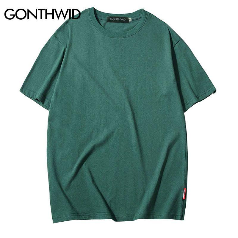 GONTHWID Casual Cotton Solid Tshirts Men Women Hip Hop Crewneck Short Sleeve Blank Streetwear Tops Tees Summer Male T Shirts 3XL