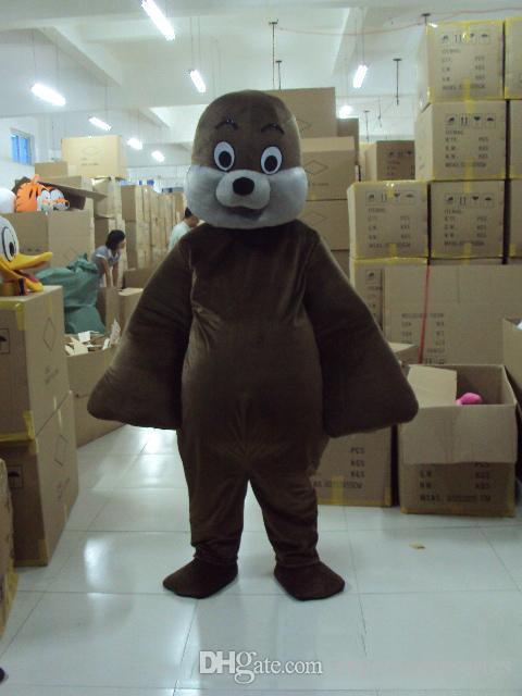 2018 Fabbrica vendita diretta Cute Sea lion Seal Mascot Costume di qualità Animale Fancy Dress Party Xmas Compleanno Adulto Dimensioni Formato adulto Mascot gratuito