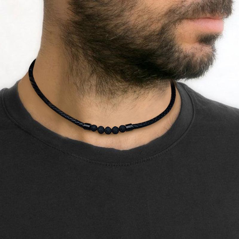 Мужская Lava Rock Плетеный кожаный Choker Ожерелье Мужчины Boho Хиппи ювелирные изделия Масляные Диффузор Surf ожерелья в черном