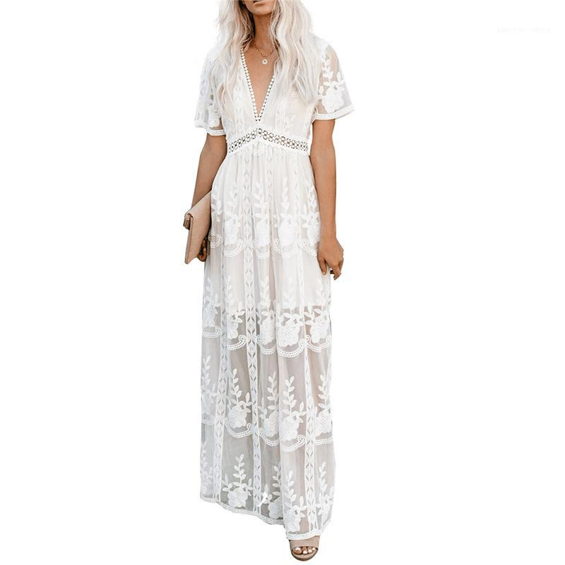V Elbiseler Çiçek Nakış Dantel Bayan Günlük Elbiseler Tatil Bayanlar Bohemian Modelleri Kadın Yaz Deep See Through