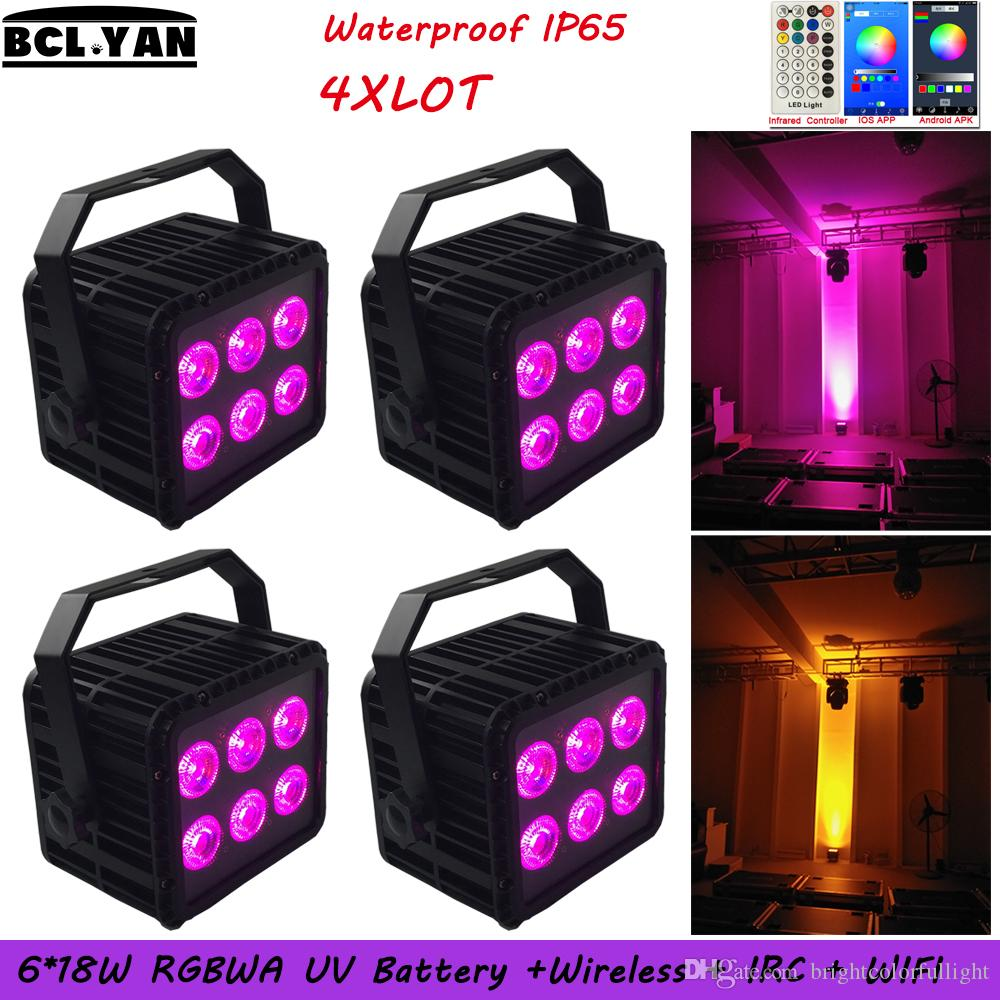 4XLOT High quality waterproof ip65 RGBWAUV 6 IN 1 Battery operated Wireless dmx led par stage lighting with WIFI & Remote