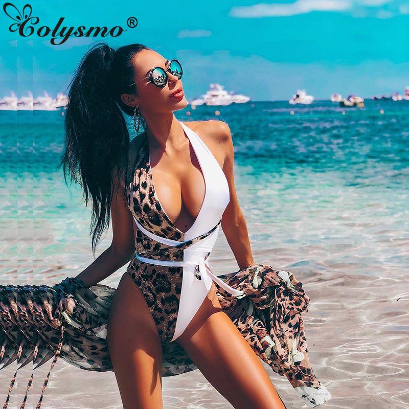 Venta al por mayor Sunshine Beach traje de baño de las mujeres de una sola pieza Sexy con cuello en V Corte de altura Body Backless Lace Up estampado de leopardo Beachwear 2019