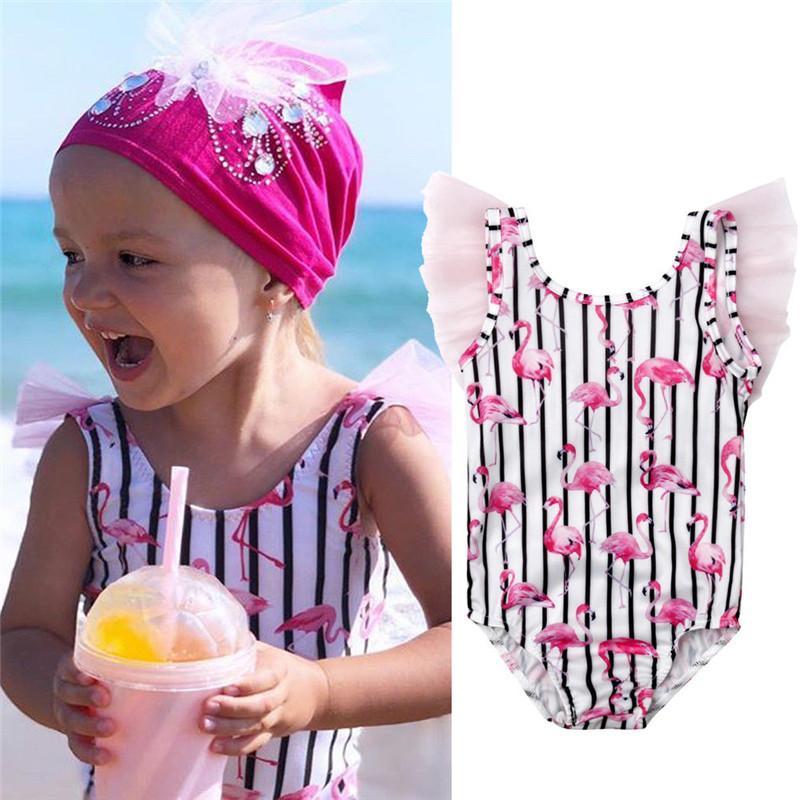 Bebek Kız Flamingo Baskı Tek Parça Suit Çocuklar Karikatür Çizgili Mayo Yüzme Kostüm Mayo Beachwear Dantel monokini