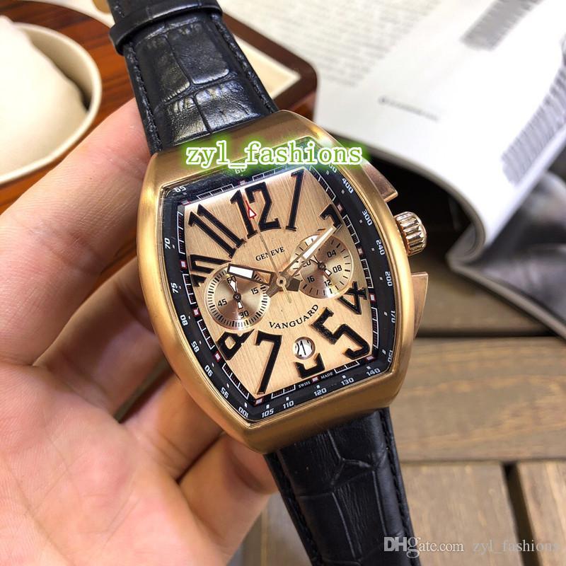 Мужские новые многофункциональные кварцевые часы с одним календарем Золотые часы из нержавеющей стали с кожаным ремешком