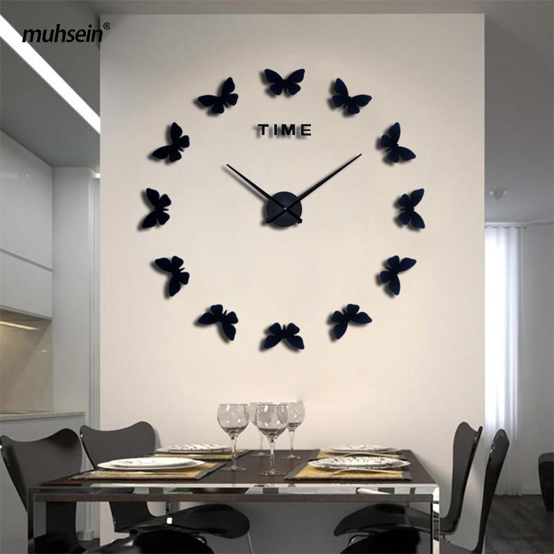 2020 muhsein New Stickers Muraux Décoration d'intérieur Poster Diy l'Europe acrylique Grand autocollant 3D Nature morte Horloge murale Cheval papillon Y200109