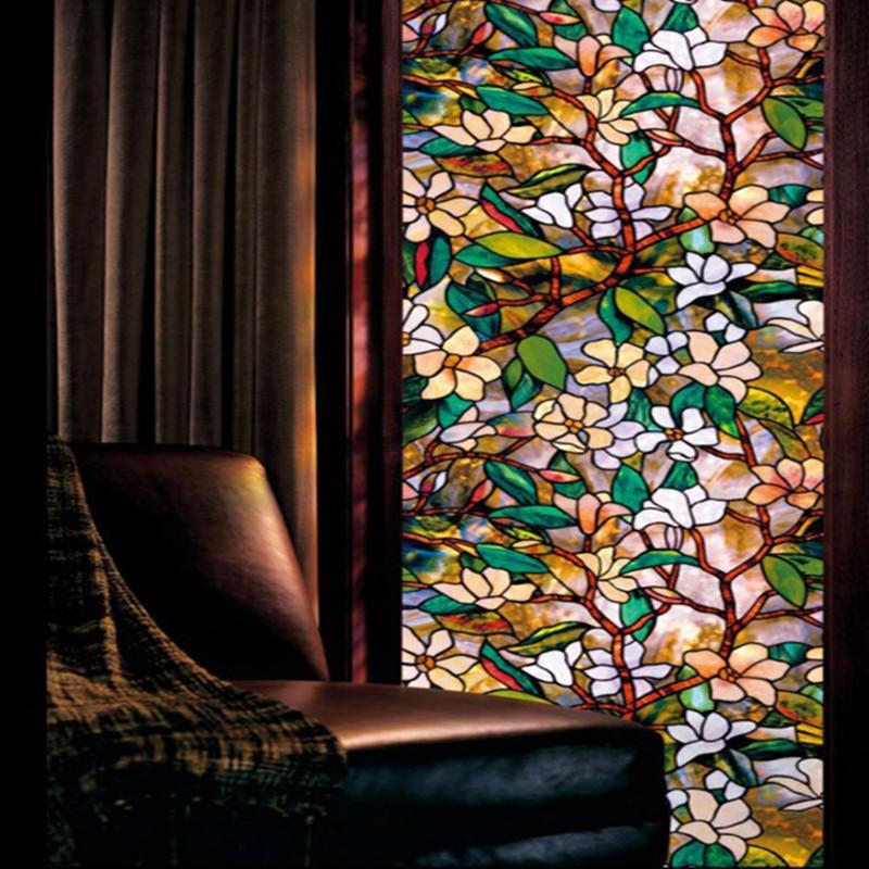60x200cm Manolya Çiçek Sanat Opak Buzlu Cam Filmleri Vinil Statik Cling Kendinden yapışkanlı Gizlilik Cam Çıkartma Dekorasyon Y200416