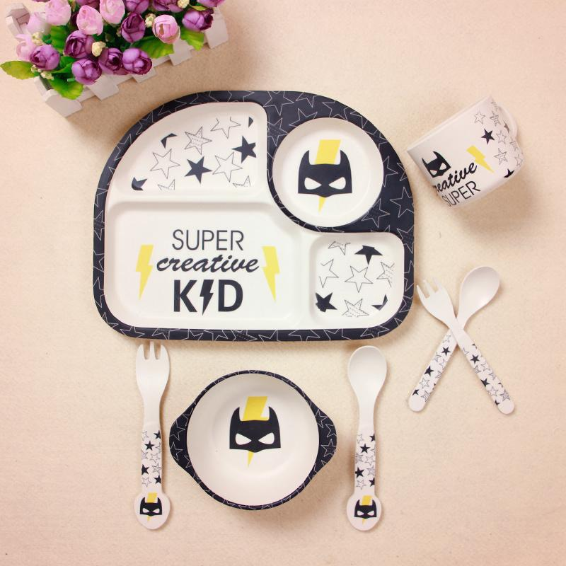 5Pcs/Sets Baby Bamboo Fiber Plate Children Tableware Dish Bowl Fork Spoon Cup Feeding Dinnerware Set Cute Safety For Kids