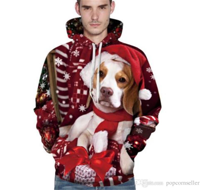 Мужские Дизайнер Hoodie Новый 3D Собака печати Пуловер Ремень Толстовка с длинным рукавом куртки Повседневный Мужская одежда