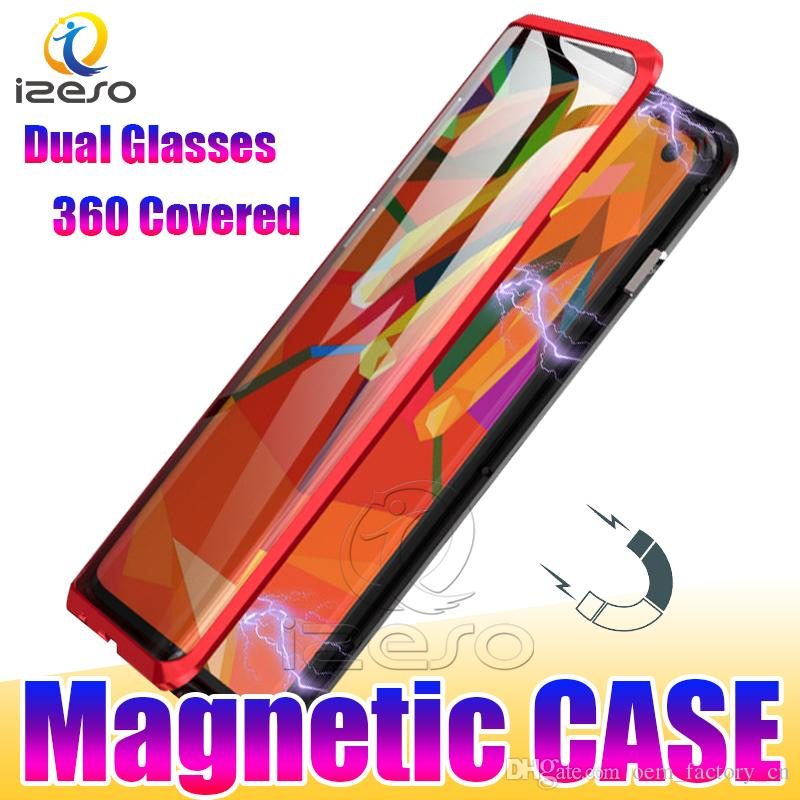Dual Glass Magnetic Phone Cases for Samsung S21 Ultra Note20 S10 5G A71 A51 A11 M31 360 Covered Adsorption Magnet Metal Case izeso