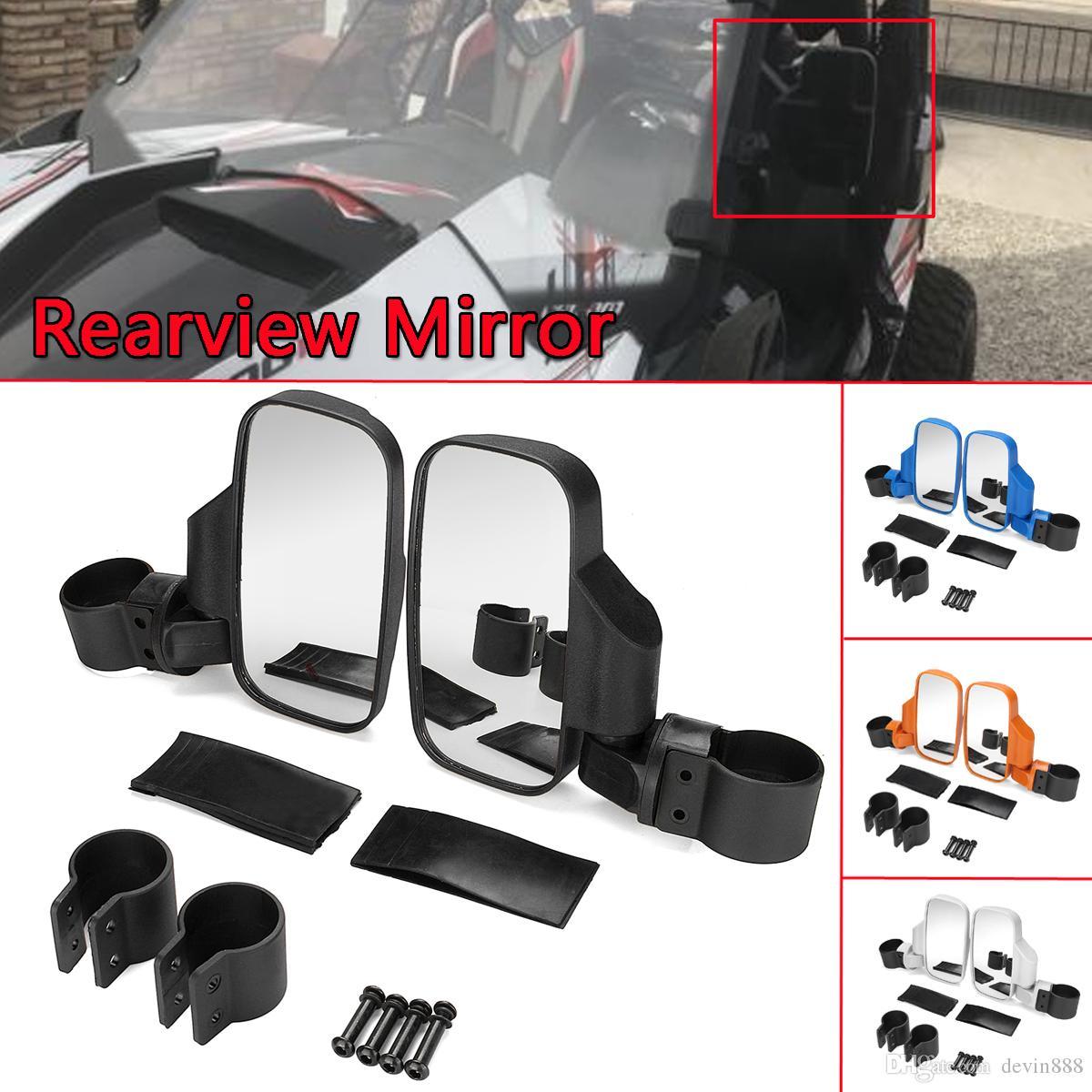 1pair универсальный мотоцикл зеркала заднего вида велосипед черный круглый для Polaris 800/900/1000 UTV Side View Mirror