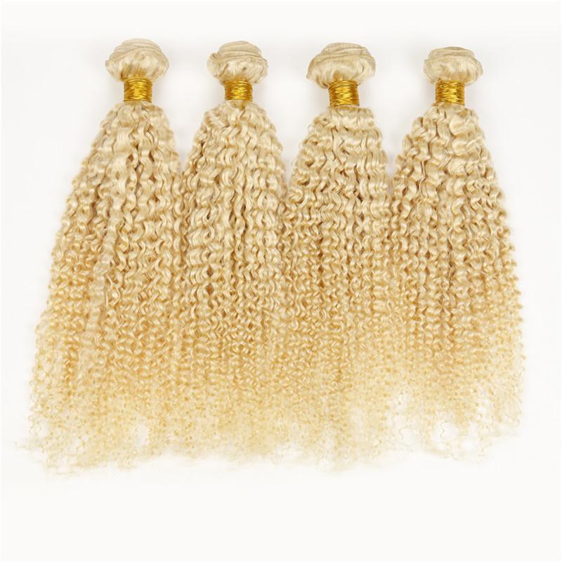Russa 100g tecer cabelo humano 4 pacotes Brasileira Peruano Malaio Indiano Virgem 613 loiro kinky extensões de cabelo encaracolado
