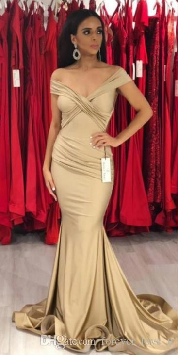 Arabic Champagne Color off The Shoulder Elegant Evening Dress for Women High Quality Indian Style Mermaid Evening Dress