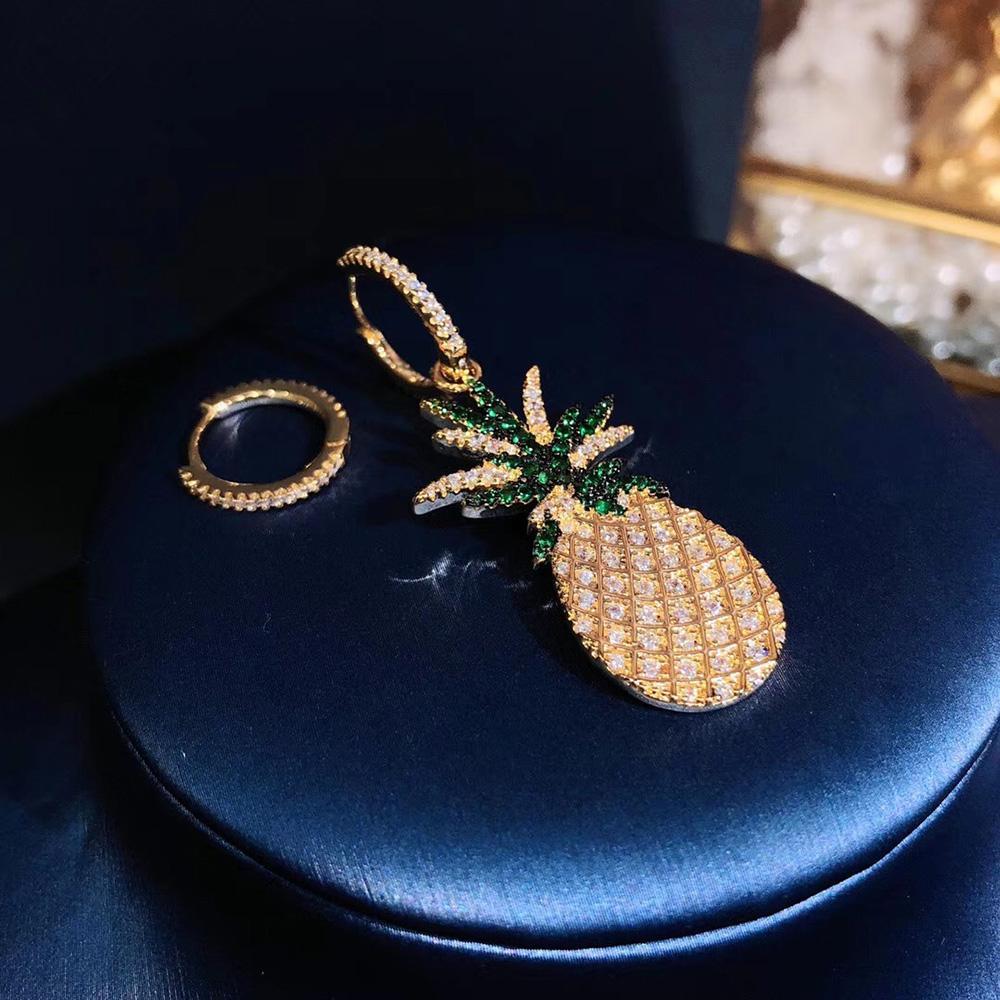 2020Hot marca brincos S925 prata esterlina abacaxi ouro ouvido pregos 5A zircão moda do partido estilo brincos senhoras luxo partido frescos