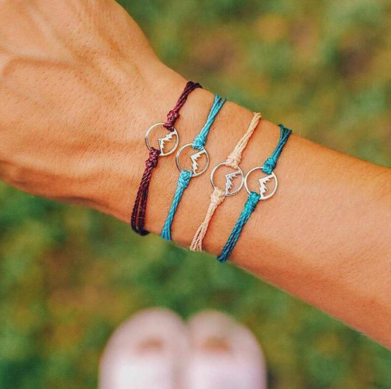4 pcs set Vintage Weave Corda Pulseiras para Mulheres Bohemian Multicolorido Fio de Prata Montanha Charme Pulseiras Jóias