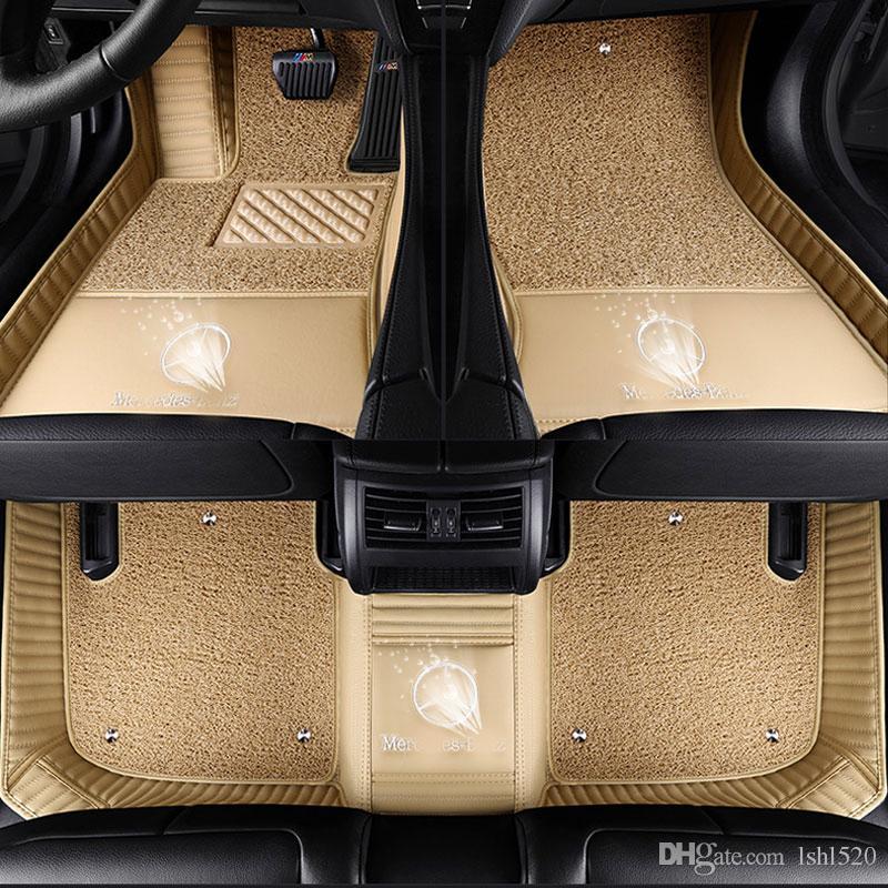 카펫 바닥 라이너 스타일링 미쓰비시 배지 로고 랜서 런트 ASX 파제로 스포츠 V73 V93 3D 자동차에 대한 사용자 정의 맞는 자동차 바닥 매트