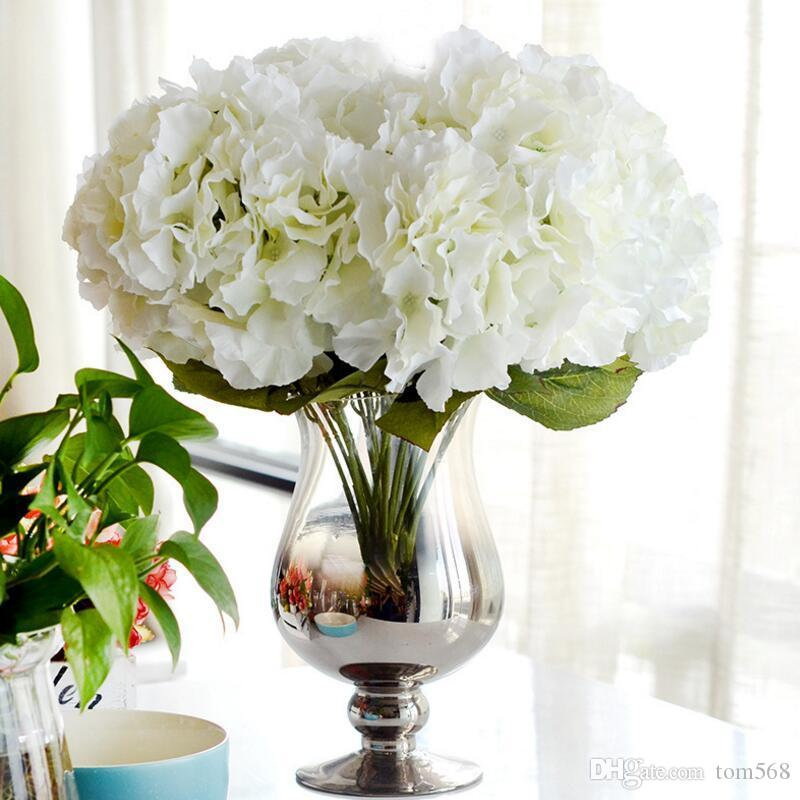 Artificial Flower Hydrangea Bouquet 5 Heads Silk Flower Real Touch Fake Flower For DIY Home Wedding Decoration Floral 2019 new