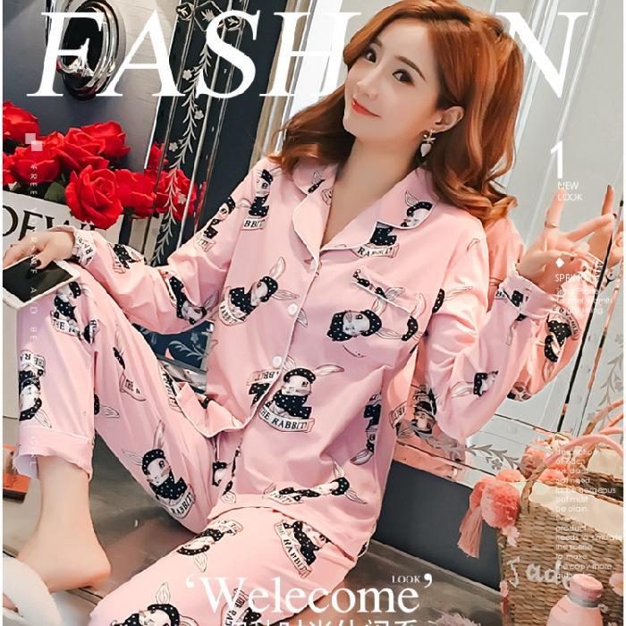 Le printemps des femmes pyjama et en automne manches longues modèle mince douce et belle de femmes lâches version coréenne peut porter des vêtements à la maison pyjama costume