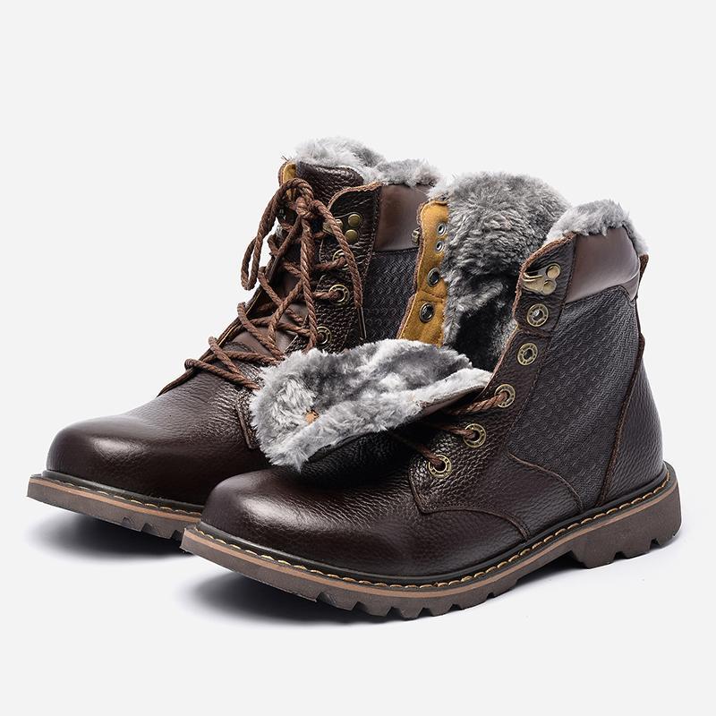 Designer-Size 35 ~ 48 couro genuíno Natural Handmade Homens Inverno Shoes # BG1570