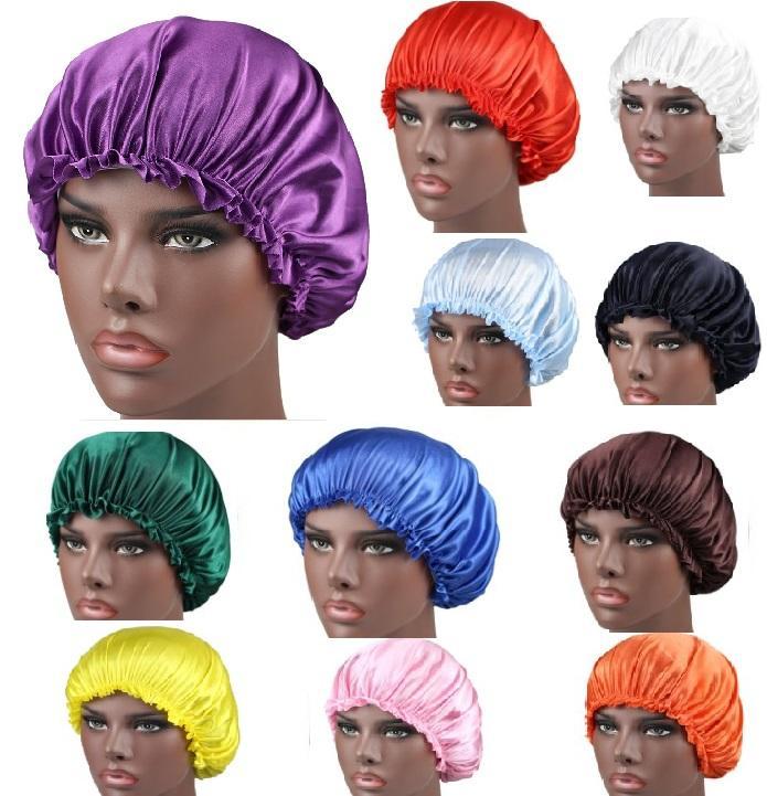 솔리드 여성 수면 모자 새틴 나이트 보닛 헤드 커버 비니 모자 머리카락 아름다움 탄성 샤워 캡 19 색 XHH9-3056