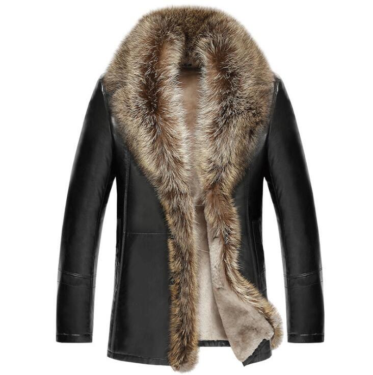 الشحن مجانا الشتاء الرجال الجديد الفاخرة سترة جلدية الرجال التلبيب سميكة المخملية الفراء معطف الذكور الأعمال عارضة outerwea