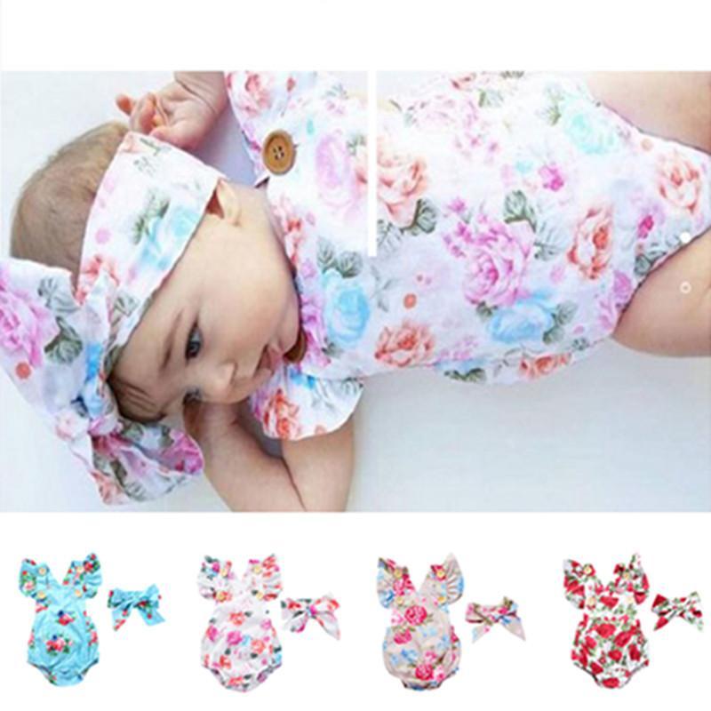 Новорожденные малыши ребёнков Цветочных Ромперы Bodysuit с Hairwrap глава группы Лето без рукавов полукомбинезон Climbing цельной одежды D3304