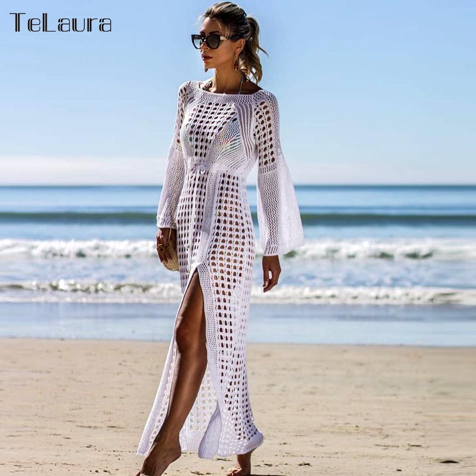 2019 New Beach Cover Up Bikini Crochet Knitted Beachwear Women Biquini Summer Swimsuit Cover Up Sexy See-through Beach Dress Y19060301