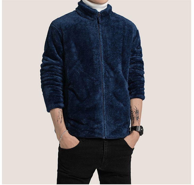 Tasarımcı Katı Erkek Sahte Kürk Kalın Sonbahar Kış Sıcak Coats Fermuar Fly Kapüşonlular Stiller Casual Ceket