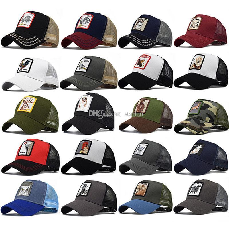 Взрослые мужские женские шапки для вышивания животных лето шляпа дальнобойщика Snapbacks бейсбольная кепка дизайнер солнцезащитный козырек ну вечеринку шляпы WX9-1456