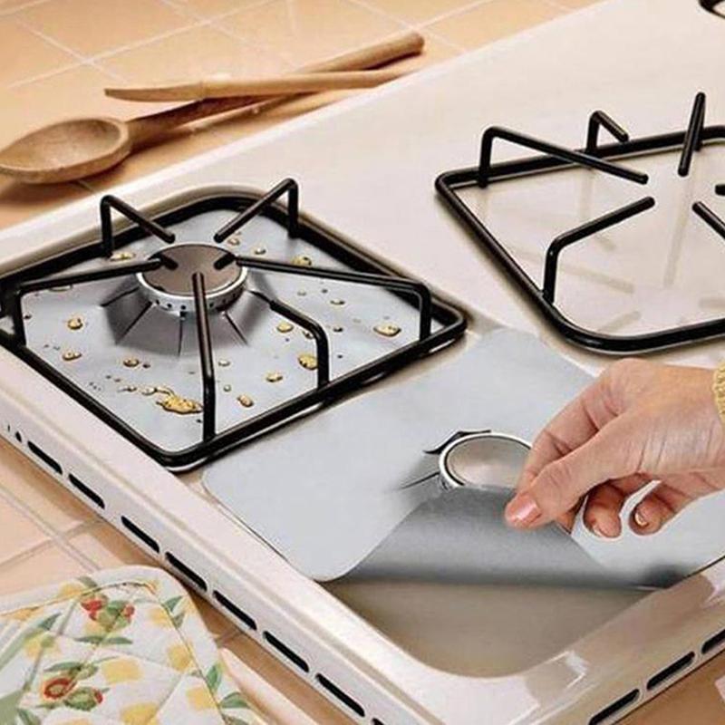4шт многоразовая антипригарная фольга диапазон плита горелка протектор вкладыш Крышка для очистки кухонных инструментов защита