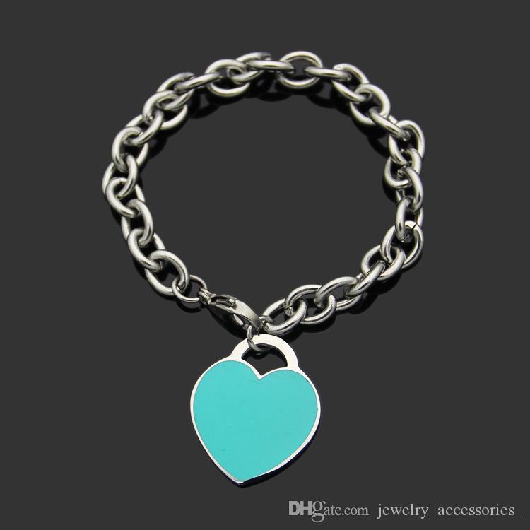 Blaues Herz-Armband-Frauen-Liebhaber Armband-handgemachte AU750 Silber Partei Schmuck