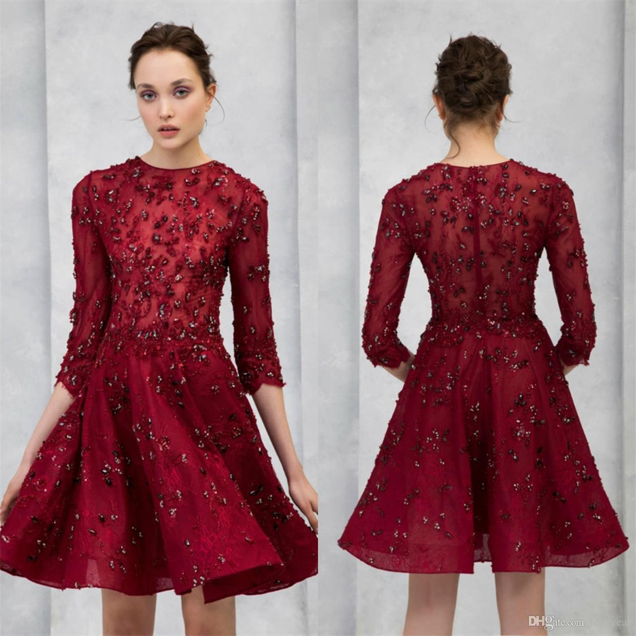 2020 Sexy A-Line Prom Dresses Jewel Neck Lace Appliqued Beaded Evening Dress Knee Length Short Long Sleeves Cocktail Homecoming Party Gowns