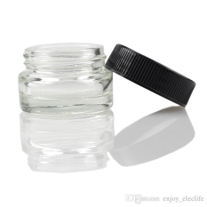 Jar Food Grade antiaderenti 5ml vetro vetro temperato contenitore di cera Dab vaporizzatore Vasi secco Herb Contenitore con coperchio nero Vaso di vetro 6ml VS