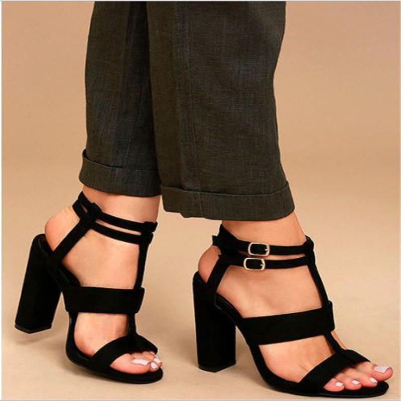 35-42 Casual Sólidos Bombas Sandals Female Shoes diário Flock Buckle Peixe Boca Lace-up grossas + 8cm Super Salto Alto Calçados Femininos