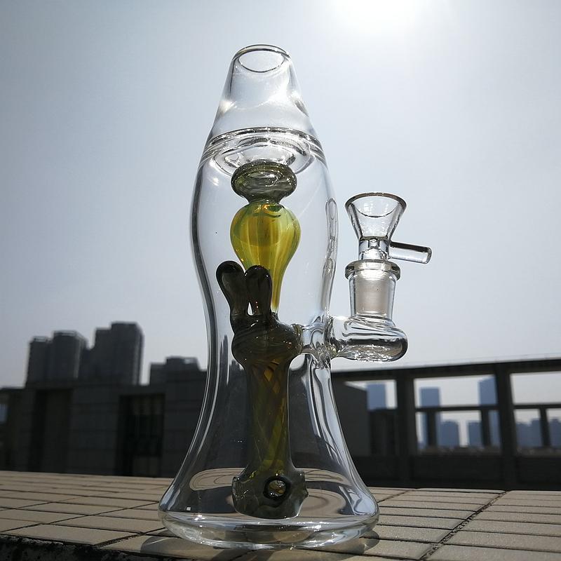 Vert Heady verre d'eau unique Bong lampe Lava Perc 14mm Joint Oil Rigs Dab Les conduites d'eau avec cuve