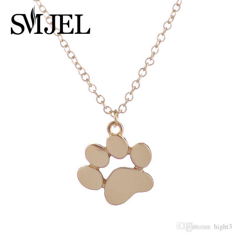 SMJEL 2018 New Tassut Cat Dog Paw Print Animal Necklace Women Jewelry Cute Pug Delicate Statement Necklace Set Gift N191