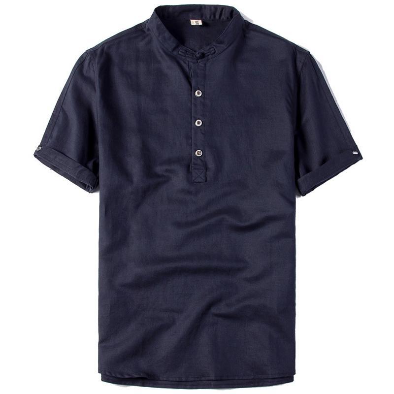 Erkekler Avrupa ve Amerikan Tarzı A728 için 2020 Yaz Stili Erkek Gömlek Kısa Kollu Saf Pamuk Büyük Beden Günlük Keten Gömlek