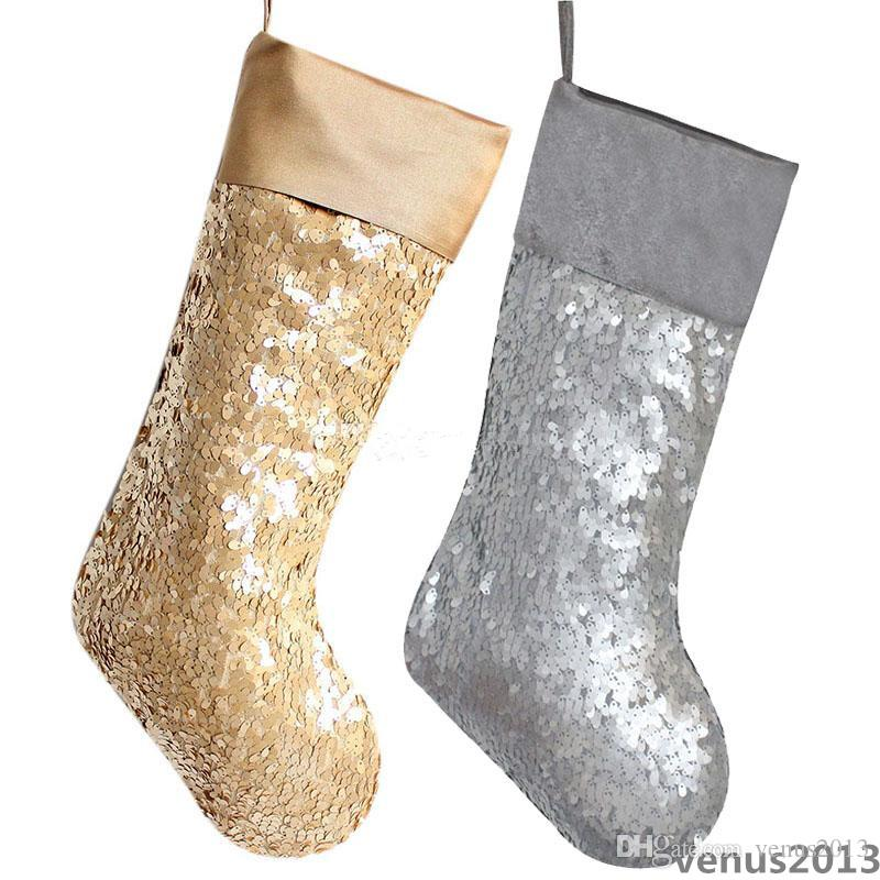 Sequins Mermaid Christmas Stocking 10*19inch Christmas Decorations Gift Bag 25*48cm Xmas Festival Party Supplies Silver Golden 2 Colors