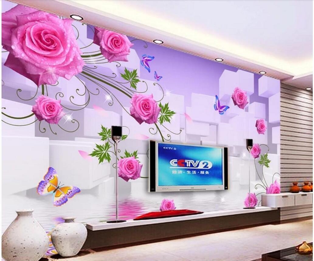 WDBH 3d personalizada fondos de escritorios flor rosa roja reflexión de fondo de la sala de decoración del hogar murales del papel pintado 3D para las paredes 3 d