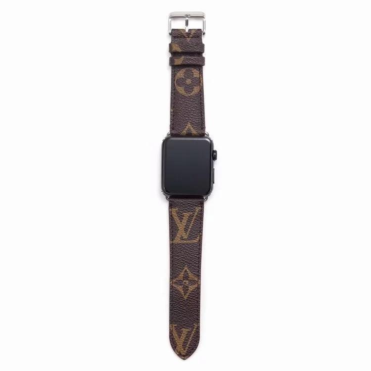 애플 시계 밴드 42mm의 38mm 40mm의 44mm의 iwatch을위한 선물 브랜드 가죽 시계 줄 1 개 2 345 밴드 가죽 스트랩 팔찌 패션 줄무늬 A11